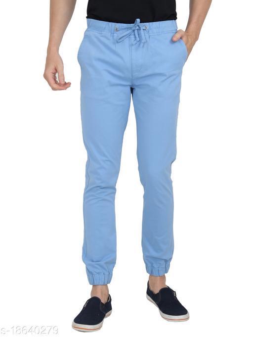 Men Blue Solid Cotton Regular Fit Joggers