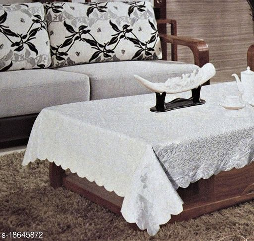Agee Home Decor Table Cloth/Table Cover Velvet Embossed, 40x60, White Cream