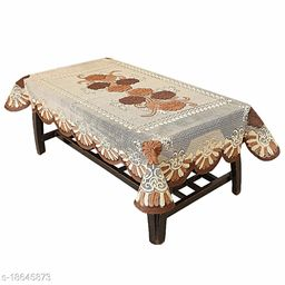 Agee Home Decor Floral Cotton 6 Seater Dining Table Cover - 60X90 inches (Beige - Brown)