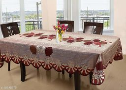 Agee Home Decor Floral Cotton 6 Seater Dining Table Cover - 60X90 inches, Golden Red (Red- Golden)