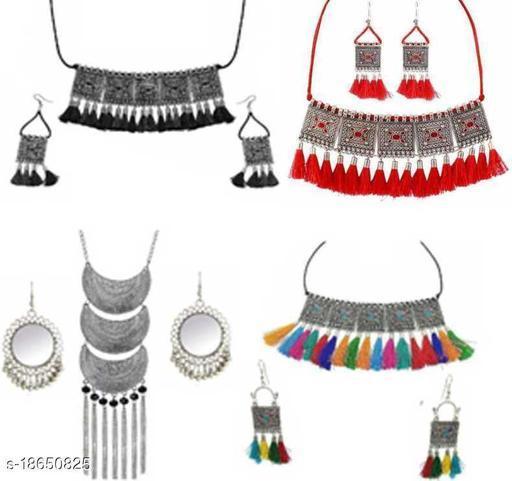 PRASUB brings Multicolor Fancy Tassel Choker Necklace set For Girls and Women