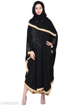 Women's Imported Soft Nida Fabric Abaya with Stone and Beads work And Dupatta Also.