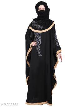 Women's Imported Soft Nida Fabric Embroidery Abaya with Dupatta.