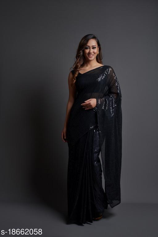 NAVLIK Women's Georgette Silk Embroidered Sequin Saree With Blouse Piece (Black)