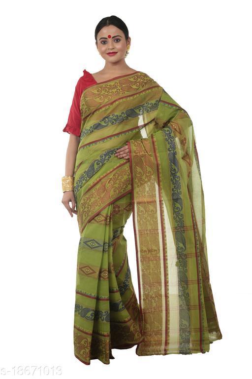 Martliner Women's Woven Latest Fashionable Bengal Tant Self Design Pure Handloom Cotton Saree