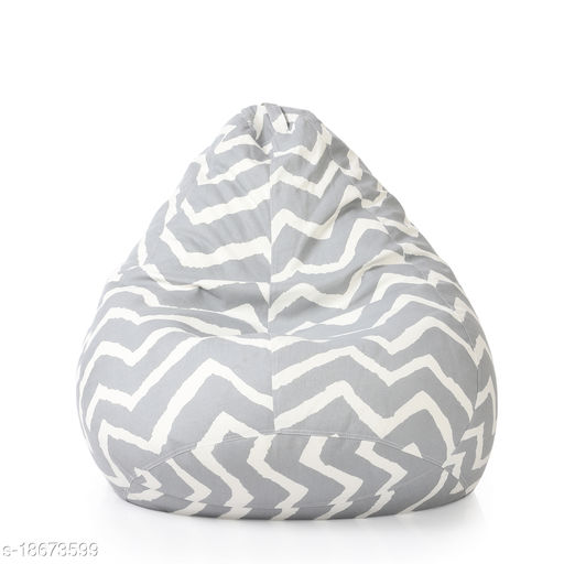 Style Homez Classic Cotton Canvas Stripes Printed Bean Bag XXL Size Cover Only