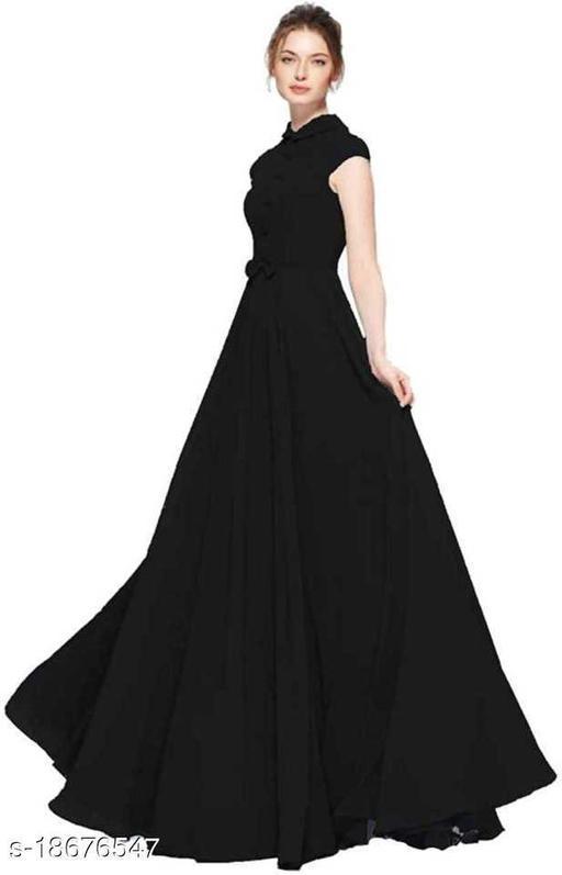 Women's Black Georgette Partywear Gown