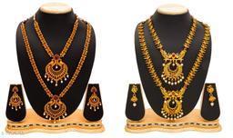 Exclusive Temple Design Matt Gold Finish Two Jewellery Set for Women