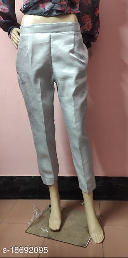 Beautiful Grey Solid Satin Pant for Women