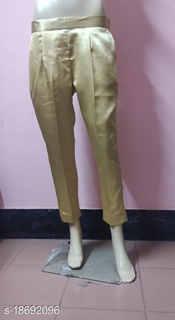 Beautiful Golden Solid Satin Pant for Women