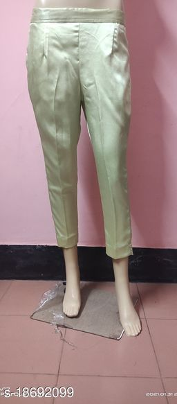 Beautiful Mint Green Solid Satin Pant for Women