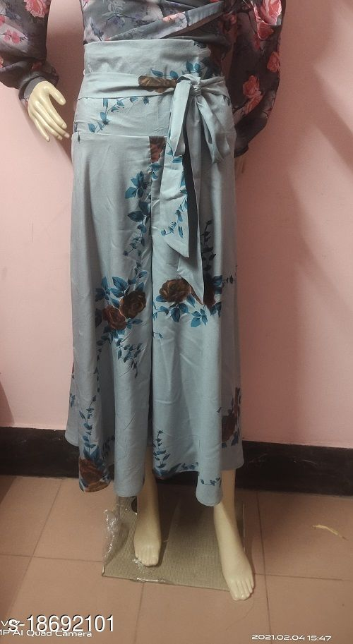 Grey Floral Rayon Flared Plazzo for Women