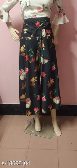 Black Floral Crepe Flared Plazzos for Women
