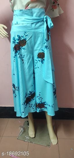 Sky Blue Floral Rayon Flared Plazzos for Women
