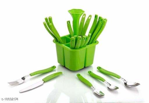 Lanz Lovely Revoling Cutlery Set 24 Pieces - 4 Different Types Of Spoons With 1 Pieces Storage Stend_(Green)