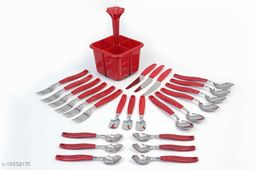 Lanz Lovely Revoling Cutlery Set 24 Pieces - 4 Different Types Of Spoons With 1 Pieces Storage Stend_(Red)