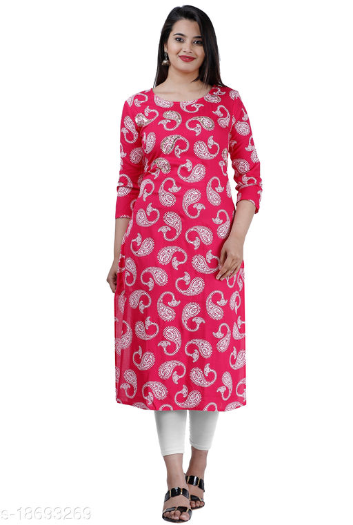 Touch Of Rajasthan Women's Slim Fit Straight Rayon Printed Kurta