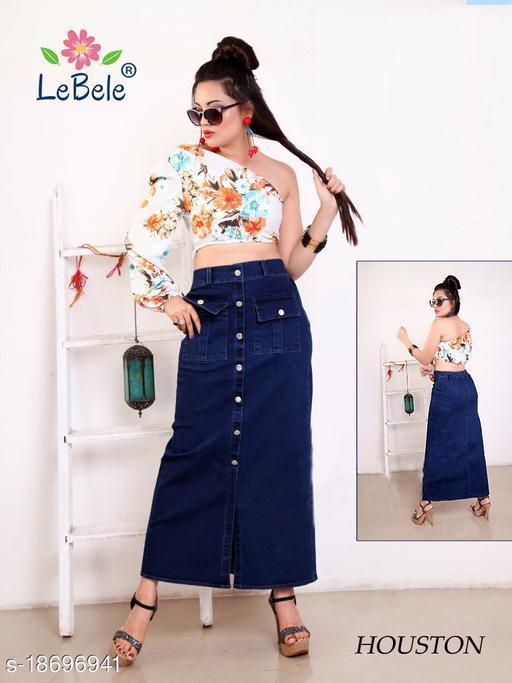 Calf Length Denim Skirt