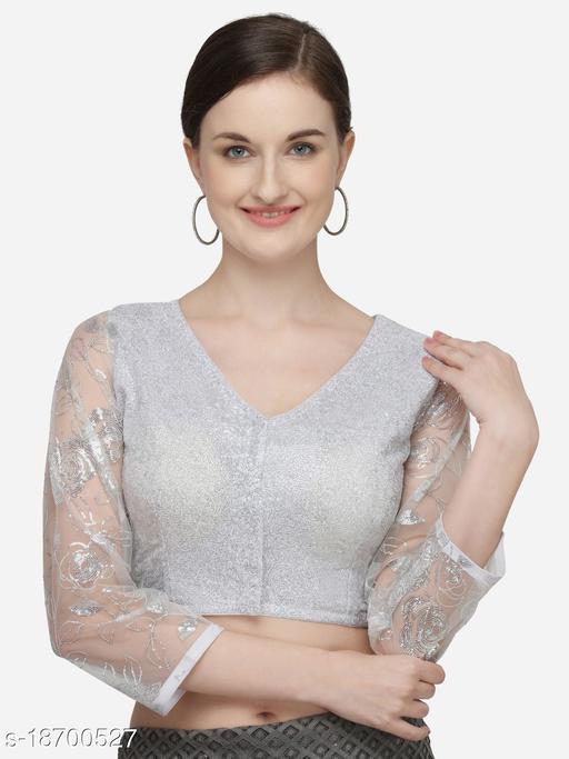 Fab Viva Women's Sequines White Phantom Silk Blouse With V Neck  (BL-20064-White)_Free_Size