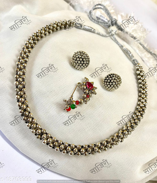 Trendy Oxidised Thushi Combo Set With Earrings and Press Nath(Adjustable)