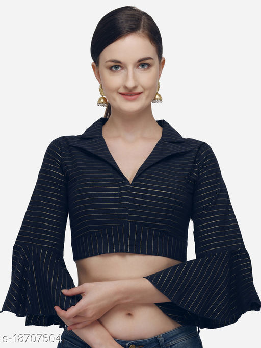 Shubh Sanidhya Women's Printed Navy Blue Phantom Silk Blouse With Collared Neck  (BL-20058-Navy_Blue)_Free_Size