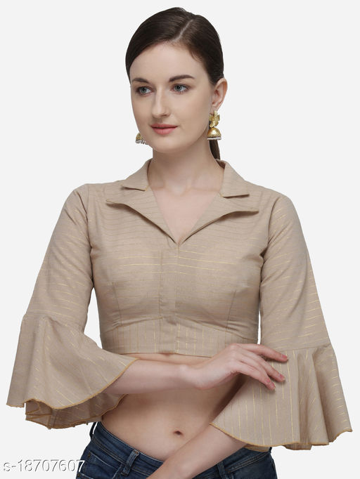 Shubh Sanidhya Women's Printed Beige Phantom Silk Blouse With Collared Neck  (BL-20058-Beige)_Free_Size