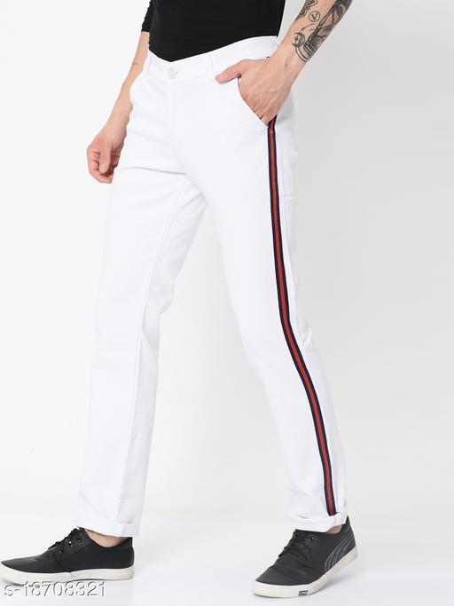 Men's Western Wear White Strechable Casual Trousers