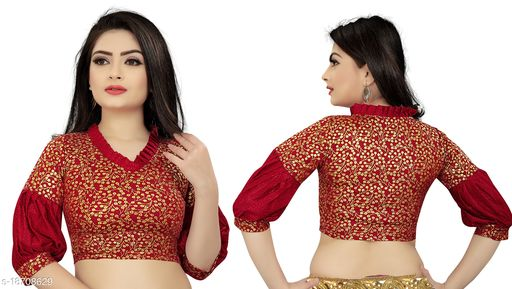 Women's Maroon Paan Neck Solid Cotton Lycra Fully Stitched Blouse