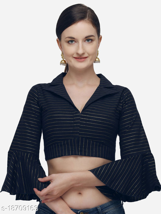 Fab Viva Women's Printed Navy Blue Phantom Silk Blouse With Collared Neck  (BL-20058-Navy_Blue)_Free_Size