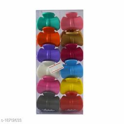 PINS N ROSE High Strength Plastic Hair Clutcher/Clips, No Slip Grip For Womens/Girls Combo of 12