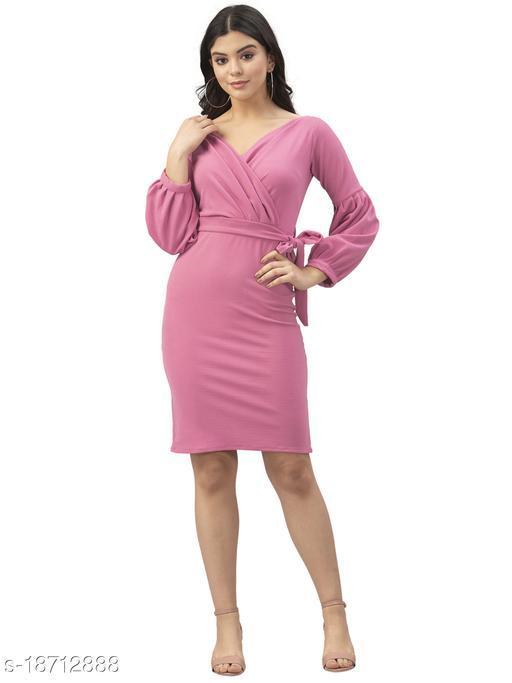 Lycra Solid Pink Western Dress