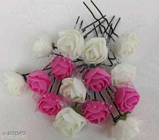 PINS N ROSE Rose Flower Bun Juda Pin for Girls Women Fancy Metal Juda Pins