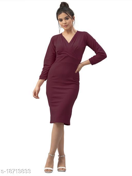 Lycra Solid Brown Western Dress