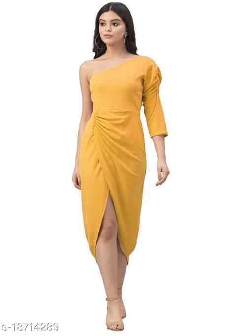 Lycra Solid Mustard Western Dress
