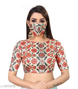 Eye-Catching Women Readymade Blouse Digital Printed With Matching Mask
