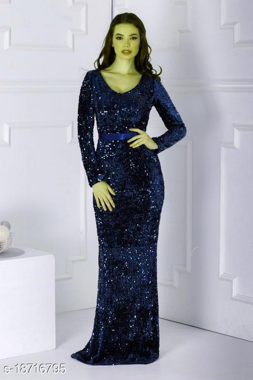 Pretty Partywear Sequinned  Women Dresses