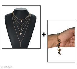 Stylish Gold-plated Necklace With Bracelet 2 Pcs Jewellery Set