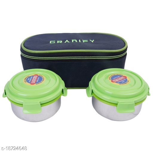 Lunch Box With 2 Steel Containers and Bag