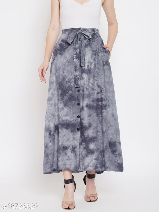 LUCERO TIE & DYE BUTTON DOWN SKIRT WITH SELF FABRIC BELT