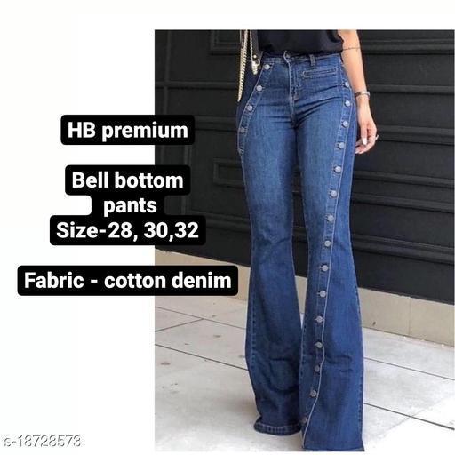 Bell bottom denim pants by High-Buy-dark blue