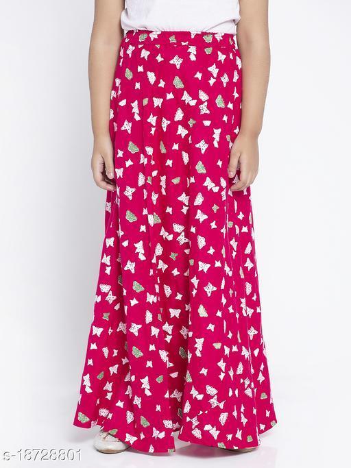 Baani Magenta Printed Rayon Skirt