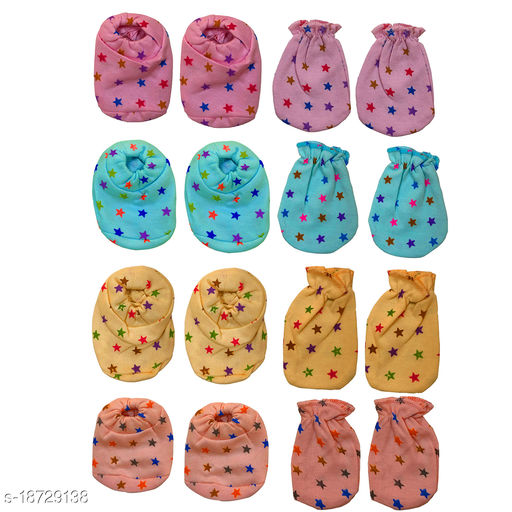 BIGBOUGHT 4 Pair Of Hand Mittens (Hosiery Soft Material), 4 Pair Of Leg Booties (Hosiery Soft Material)  (Multicolor)