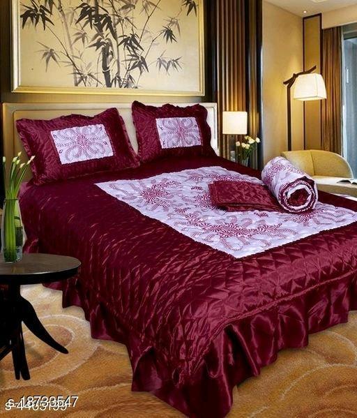 VIP Satin Bedding Set (Set of 4 Pieces) 1 Bedsheet :: 2 Pillow Cover :: 1 AC Comforter (Maroon)