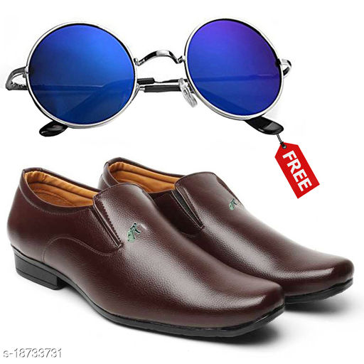 Stylish And Trendy Brown SlipOn Formal Shoes With Free Sunglasses