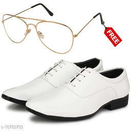 Stylish And Trendy White LaceUp Formal Shoes With Free Sunglasses