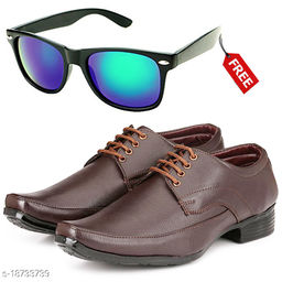 Stylish And Trendy Brown LaceUp Formal Shoes With Free Sunglasses