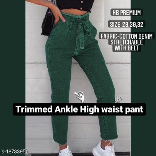 Trimmed ankle bow belt high waist cotton denim strechable jeans by High-Buy- green