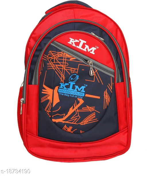 Kim Bag Red Polyester Bagpack for Teenagers   Suitable for College and School