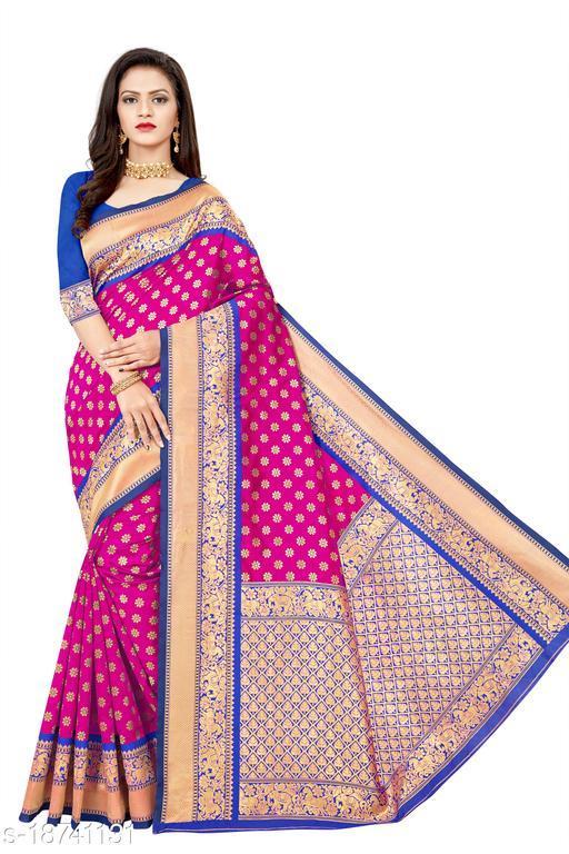 Women's Banarasi silk saree with unstitched blouse piece with silk (Pink)