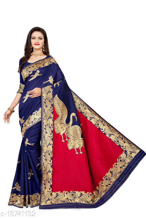 Women's Banarasi silk saree with unstitched blouse piece with silk (Blue)